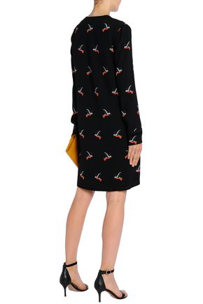 VICTORIA, VICTORIA BECKHAM Satin-trimmed printed crepe dress