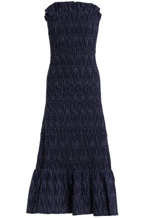 VICTORIA, VICTORIA BECKHAM Strapless fil coupé cotton midi dress