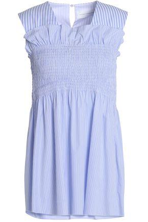 VICTORIA, VICTORIA BECKHAM Shirred striped cotton-poplin top