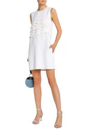 VICTORIA, VICTORIA BECKHAM Ruffled satin-trimmed crepe mini dress