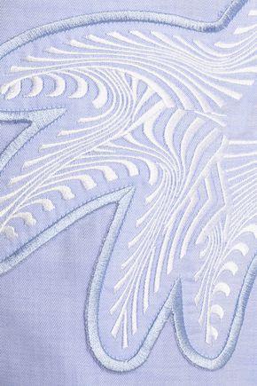 VICTORIA, VICTORIA BECKHAM Embroidered cotton-twill shirt