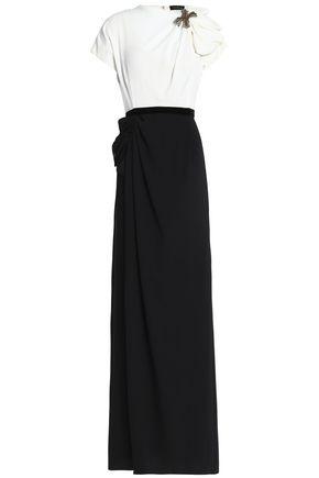 JENNY PACKHAM Appliquéd two-tone crepe gown