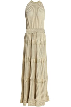 M MISSONI Pleated metallic ribbed and crochet-knit maxi dress