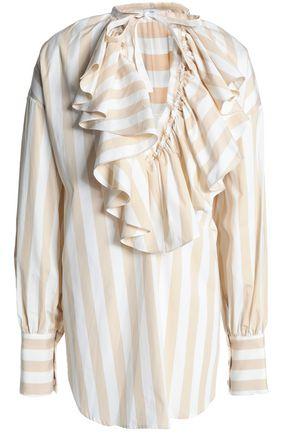 TOME Ruffled striped cotton-poplin blouse