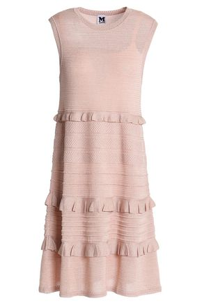 M MISSONI Ruffle-trimmed ribbed and pointelle-knit dress