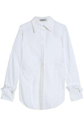 NINA RICCI Chantilly lace-paneled cotton-poplin shirt