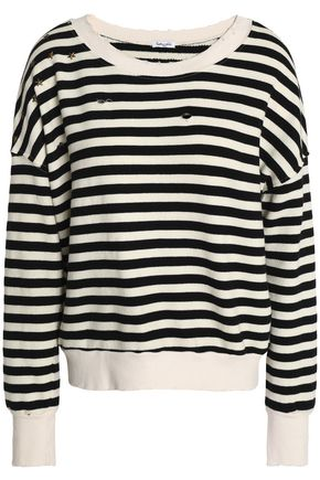 SPLENDID Studded distressed striped cotton-blend sweater