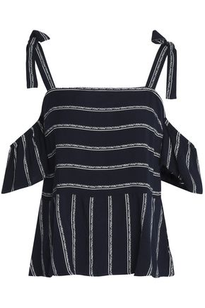SPLENDID Cold-shoulder striped twill peplum top