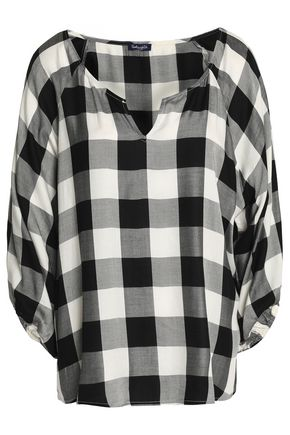 SPLENDID Checked twill blouse