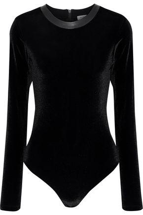 ALIX Carlisle leather-trimmed velvet bodysuit