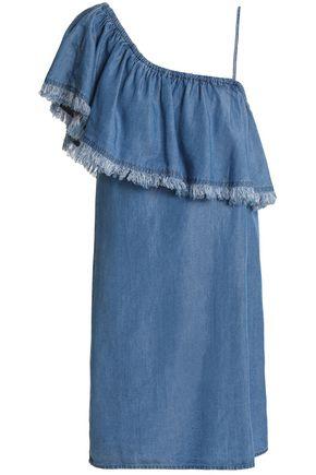 SPLENDID One-shoulder layered chambray mini dress