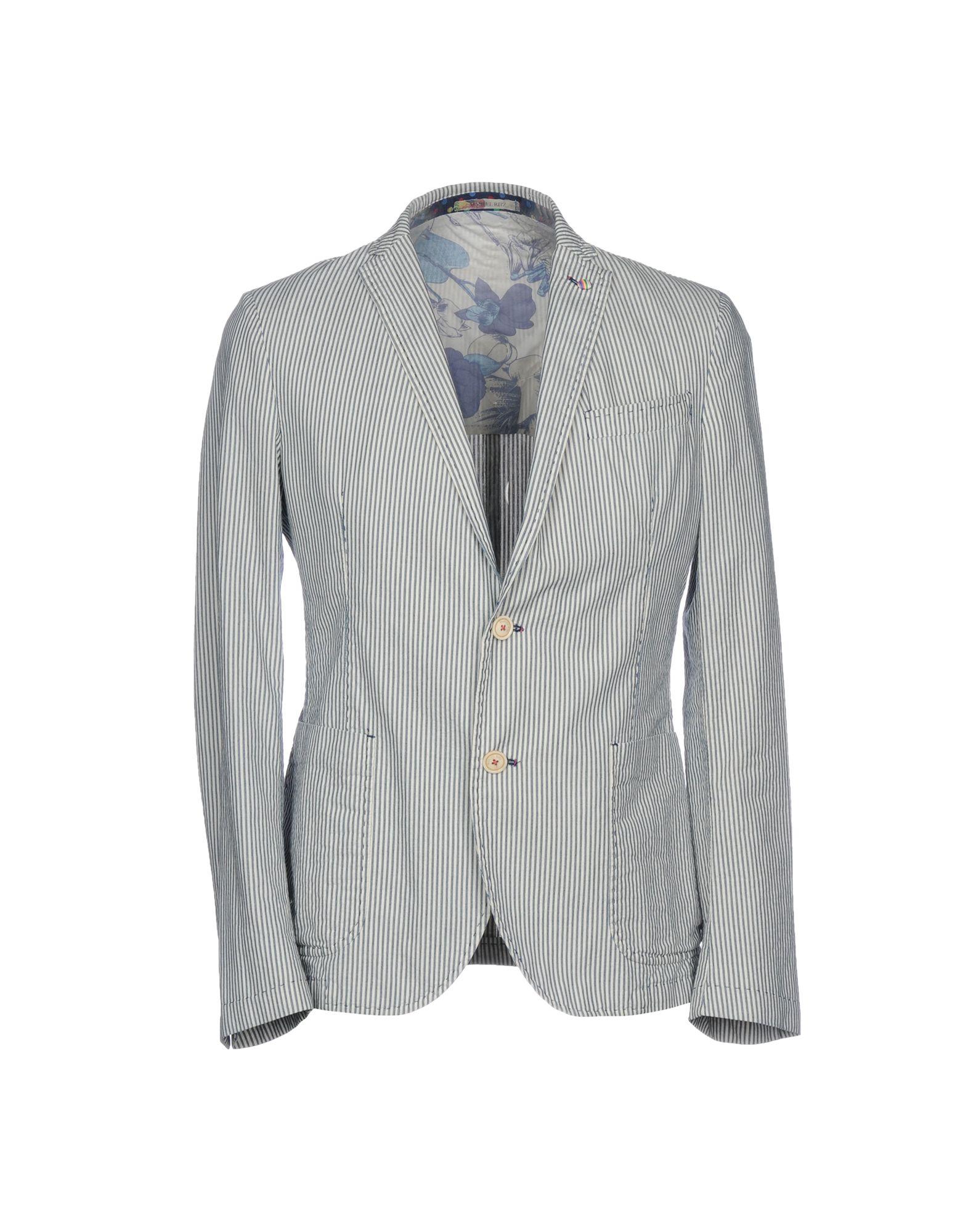 《送料無料》MANUEL RITZ メンズ テーラードジャケット ブルーグレー 48 コットン 100%