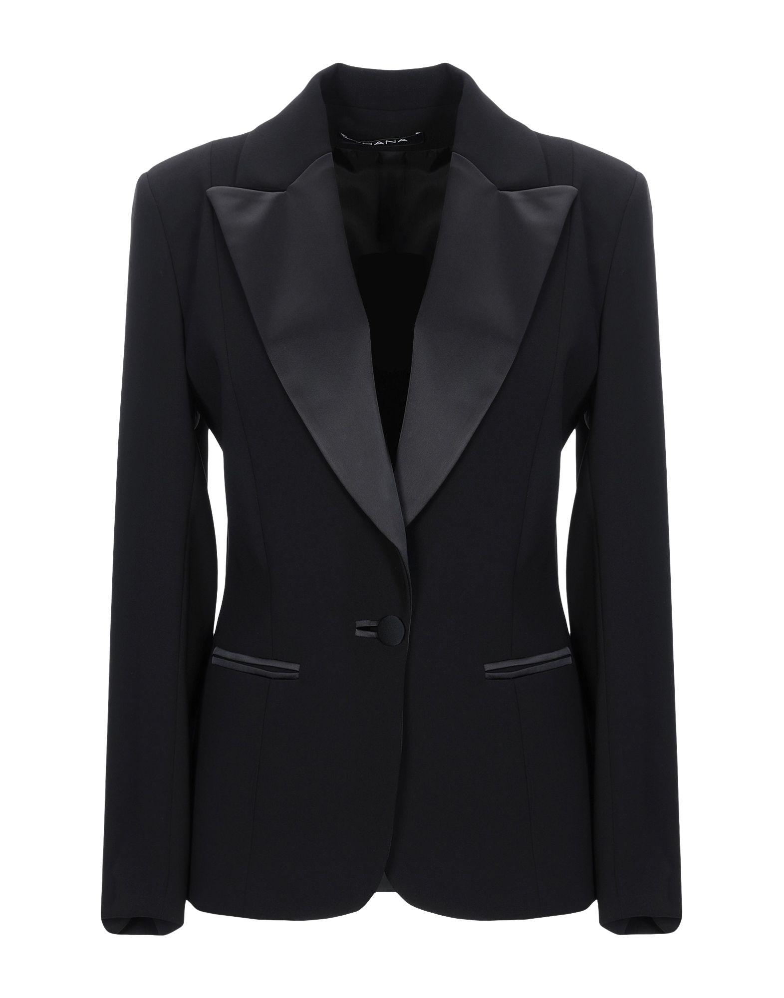 《送料無料》THANA レディース テーラードジャケット ブラック 42 ポリエステル 100%
