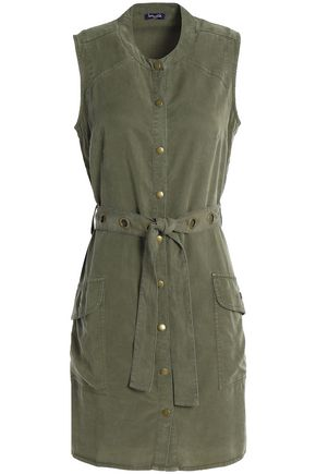 SPLENDID Belted washed-twill mini dress