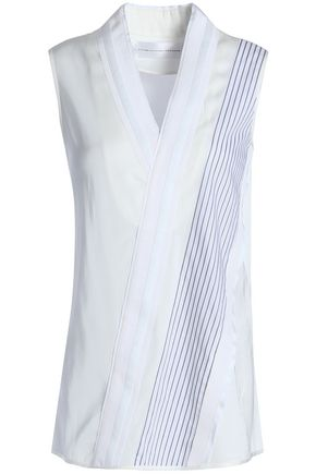 VICTORIA, VICTORIA BECKHAM Wrap-effect paneled striped cady and poplin top