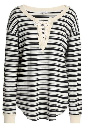SPLENDID Lace-up striped intarsia-knit tunic