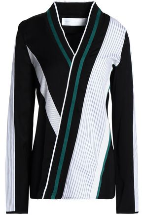 VICTORIA, VICTORIA BECKHAM Wrap-effect striped poplin and cady top