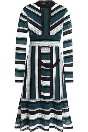 M MISSONI Fluted pointelle and crochet-knit dress