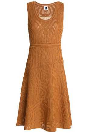 M MISSONI Fluted crochet-knit cotton-blend dress