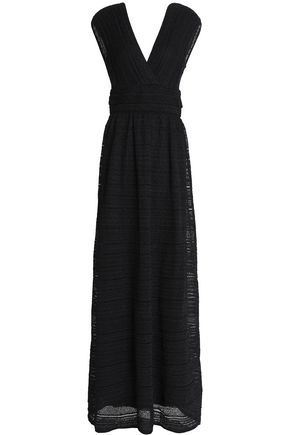M MISSONI Fluted metallic crochet-knit maxi dress