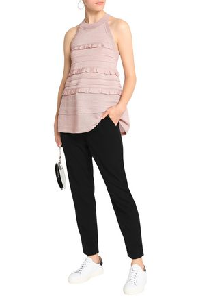 M MISSONI Ruffle-trimmed ribbed and pointelle-knit top