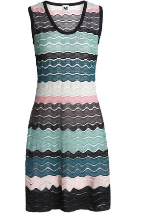 M MISSONI Flared metallic crochet and pointelle-knit dress