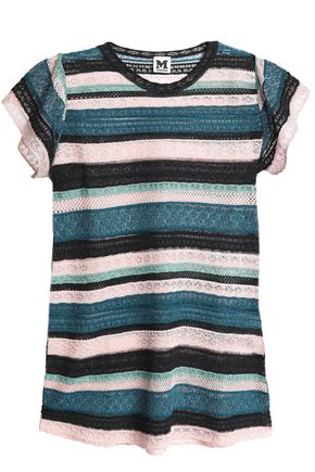 M MISSONI Metallic crochet and pointelle-knit top