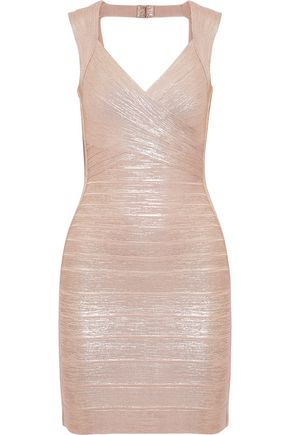 HERVÉ LÉGER Iman open-back metallic bandage mini dress