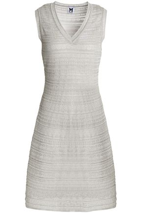 M MISSONI Fluted metallic crochet-knit dress