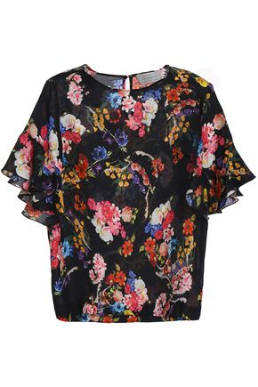 PREEN by THORNTON BREGAZZI Sarah floral-print hammered-silk top