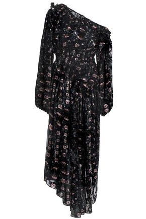 PREEN by THORNTON BREGAZZI Asymmetric devoré floral-print silk-blend chiffon midi dress