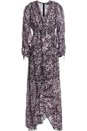 PREEN by THORNTON BREGAZZI Ruched devoré floral-print chiffon maxi dress