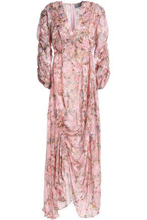 PREEN by THORNTON BREGAZZI Ruched devoré floral-print chiffon maxi dress