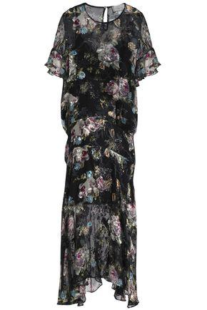 PREEN by THORNTON BREGAZZI Fluted devoré floral-print silk-blend chiffon midi dress