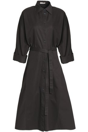 NINA RICCI Flared cotton-gabardine midi shirtdress