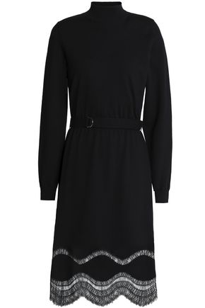 NINA RICCI Lace-trimmed belted wool dress
