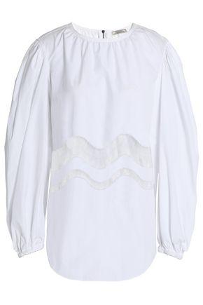 NINA RICCI Chantilly lace-trimmed gathered cotton-poplin blouse