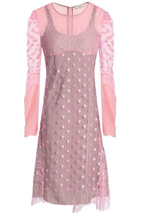 NINA RICCI Embroidered point d'esprit and corded lace dress