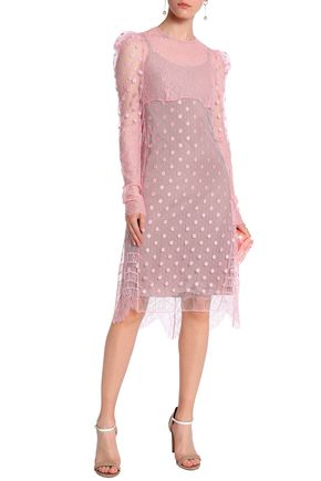 Nina Ricci Embroidered Point D Esprit And Corded Lace Dress