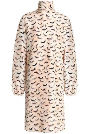 NINA RICCI Printed silk crepe de chine turtleneck dress