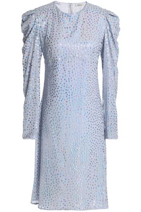 NINA RICCI Ruffle-trimmed metallic silk-georgette dress