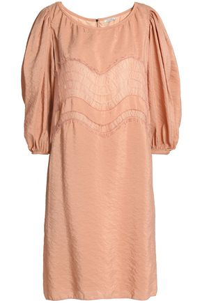 NINA RICCI Lace-trimmed crinkled taffeta dress