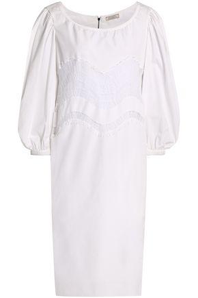 NINA RICCI Chantilly lace-trimmed cotton-poplin dress