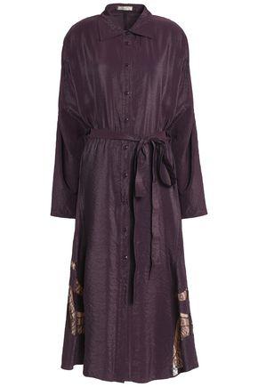 NINA RICCI Lace-trimmed crinkled taffeta midi shirtdress