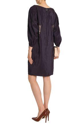 NINA RICCI Lace-trimmed crinkled-taffeta dress