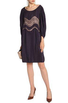 Nina Ricci Lace Trimmed Crinkled Taffeta Dress