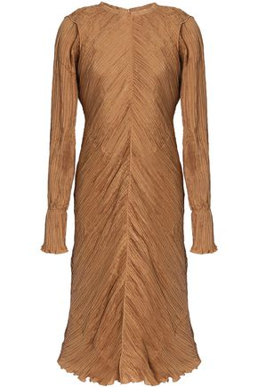 NINA RICCI Frayed plissé silk dress