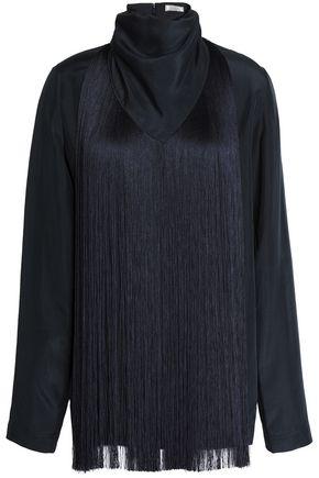 NINA RICCI Draped fringed silk-satin blouse