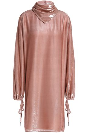 NINA RICCI Iridescent tinsel and knitted mini dress