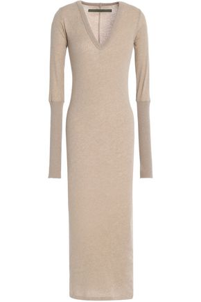 ENZA COSTA Cotton and cashmere-blend midi dress